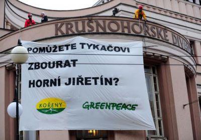 Protest ekologických aktivistů v Teplicích